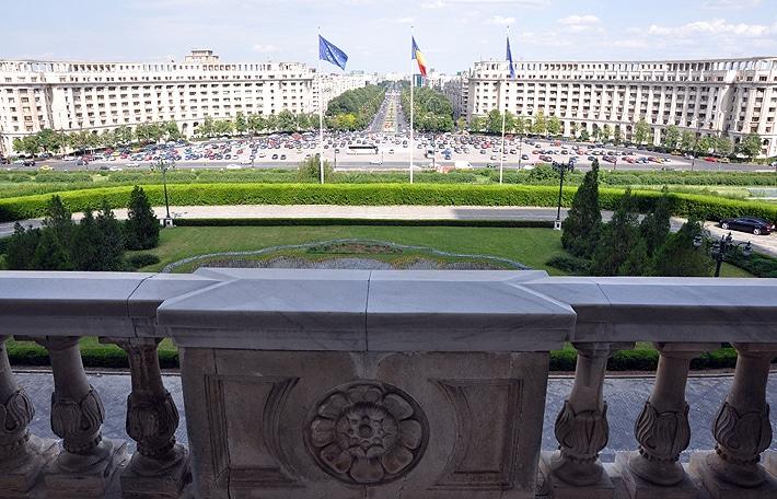 Widok z balkonu Pałacu Parlamentu