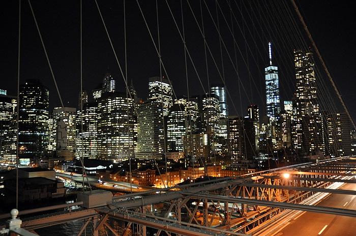 Dolny Manhattan z Brooklyn Bridge