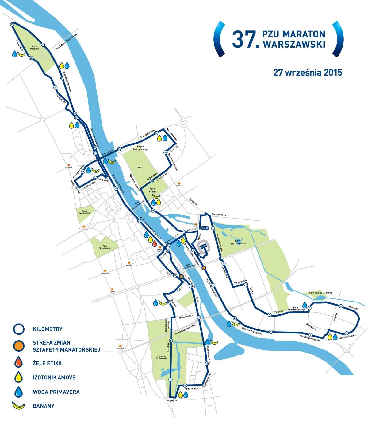 PZU Maraton Warszawski - trasa