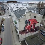 Murale w Warszawie z drona