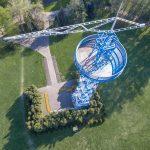 Wieża spadochronowa w Katowicach z drona
