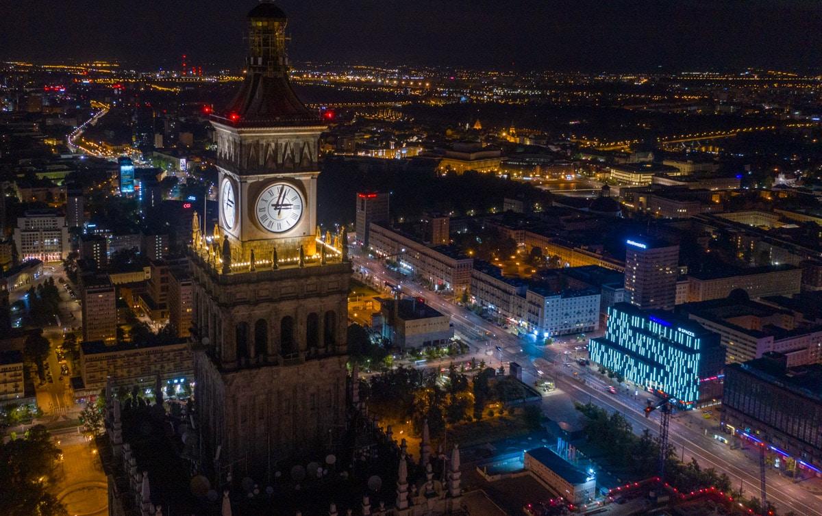 Pałac Kultury i Nauki nocą