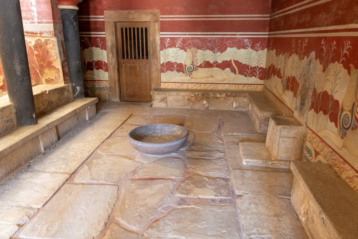 Ruiny pałacu w Knossos - sala tronowa